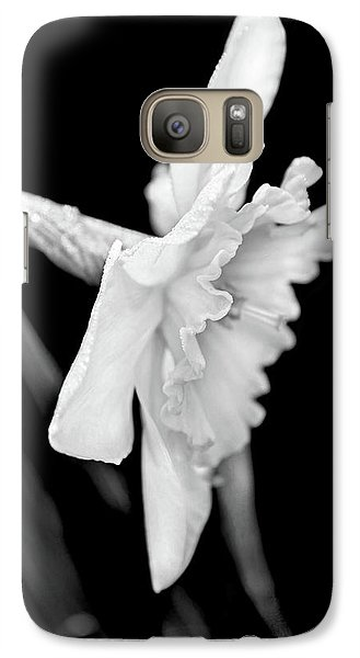 Galaxy Case featuring the photograph Daffodil Flower Black And White by Jennie Marie Schell