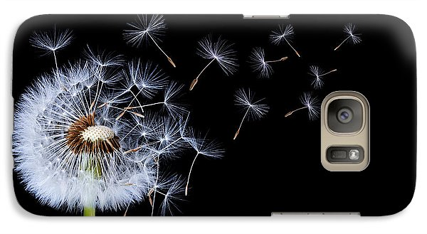 Galaxy Case featuring the photograph Dandelion On Black Background by Bess Hamiti