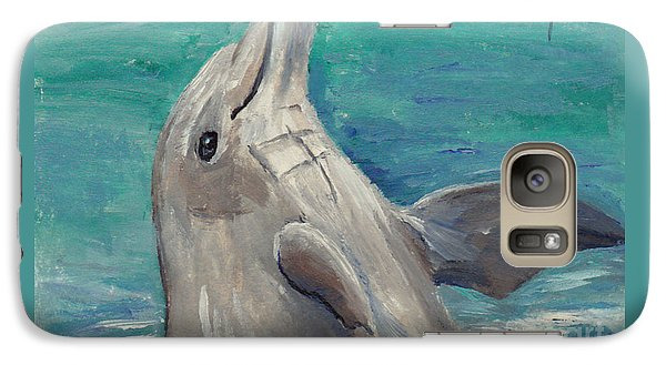 Galaxy Case featuring the painting Dolphin Aceo by Brenda Thour
