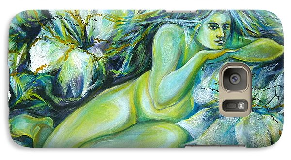 Galaxy Case featuring the painting Dreaming Flower by Anna  Duyunova