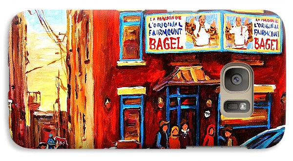 Galaxy Case featuring the painting Fairmount Bagel In Winter by Carole Spandau