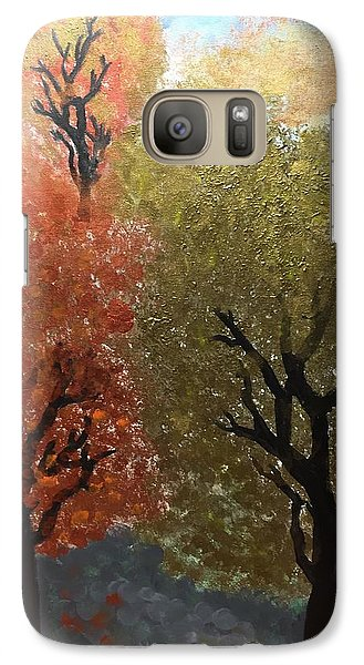 Galaxy Case featuring the painting Fall Trees by Paula Brown