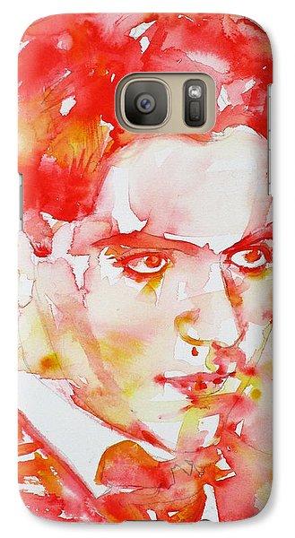 Galaxy Case featuring the painting Federico Garcia Lorca - Watercolor Portrait by Fabrizio Cassetta