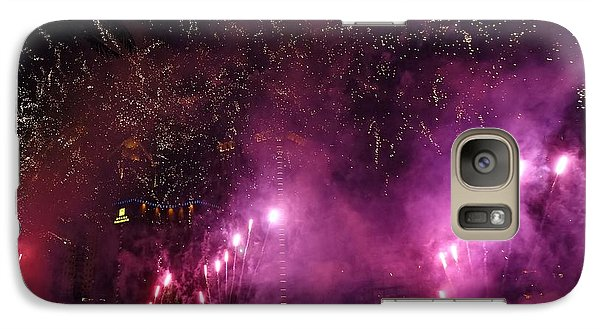 Galaxy Case featuring the photograph Fireworks Along The Love River In Taiwan by Yali Shi