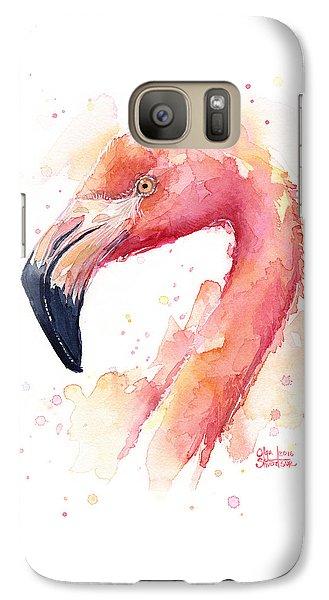 Flamingo Watercolor  Galaxy Case by Olga Shvartsur