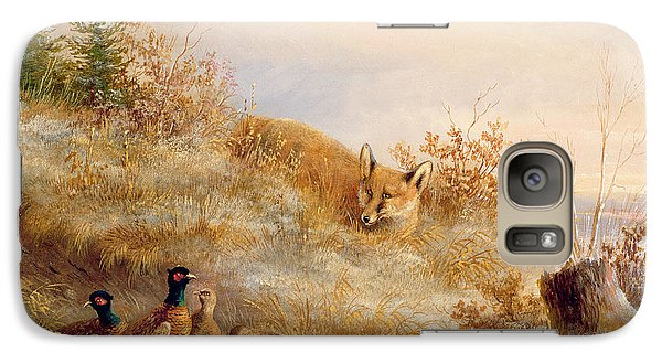 Fox And Pheasants In Winter Galaxy S7 Case by Anonymous