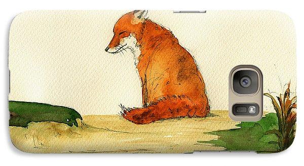 Fox Sleeping Painting Galaxy Case by Juan  Bosco