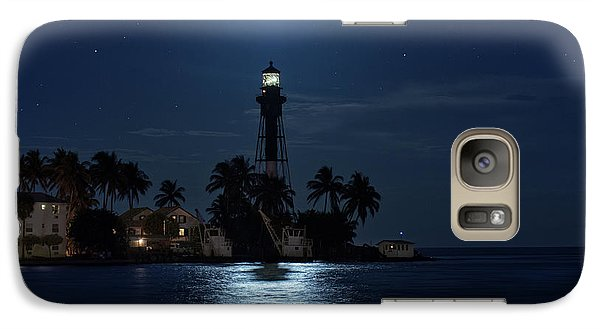 Galaxy Case featuring the photograph Full Moon Over Hillsboro Lighthouse In Pompano Beach Florida by Justin Kelefas