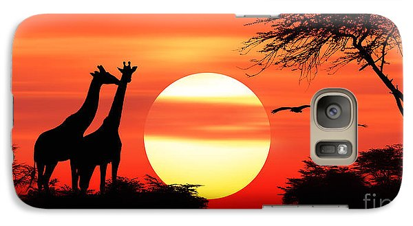 Giraffes At Sunset Galaxy S7 Case