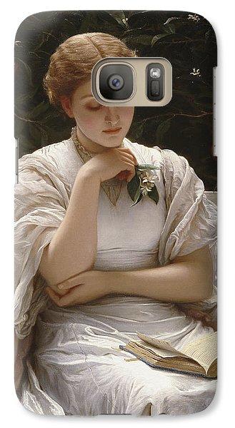 Girl Reading Galaxy Case by Charles Edward Perugini