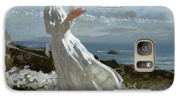 Grace Reading At Howth Bay Galaxy Case by Sir William Orpen