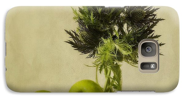 Apple Galaxy S7 Case - Green Apples And Blue Thistles by Priska Wettstein