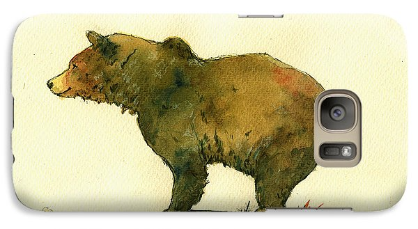 Bear Galaxy S7 Case - Grizzly Bear Watercolor Painting by Juan  Bosco