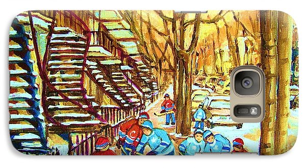 Galaxy Case featuring the painting Hockey Game Near Winding Staircases by Carole Spandau