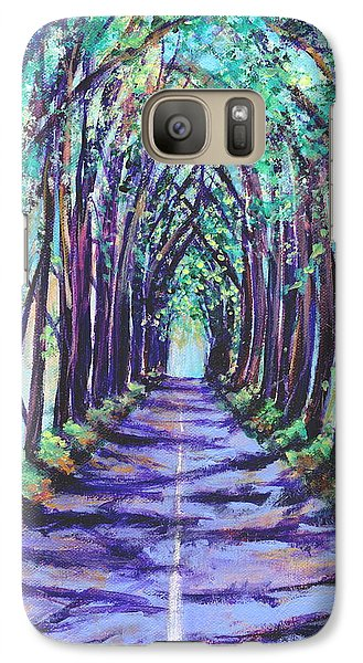 Galaxy Case featuring the painting Kauai Tree Tunnel by Marionette Taboniar