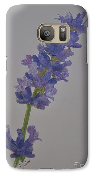 Galaxy Case featuring the drawing Lavender by Linda Ferreira