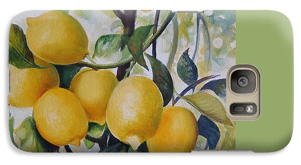 Galaxy Case featuring the painting Lemons by Elena Oleniuc