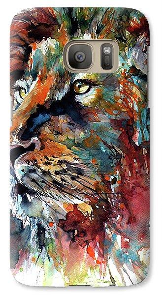 Galaxy Case featuring the painting Lion by Kovacs Anna Brigitta