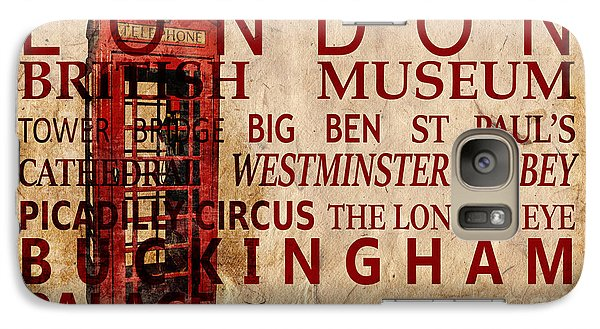 London Eye Galaxy S7 Case - London Vintage Poster Red by Delphimages Photo Creations