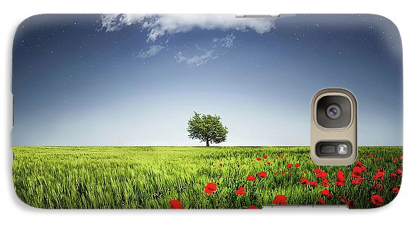 Galaxy Case featuring the photograph Lone Tree A Poppies Field by Bess Hamiti