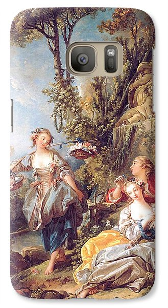 Galaxy Case featuring the painting Lovers In A Park by Pg Reproductions