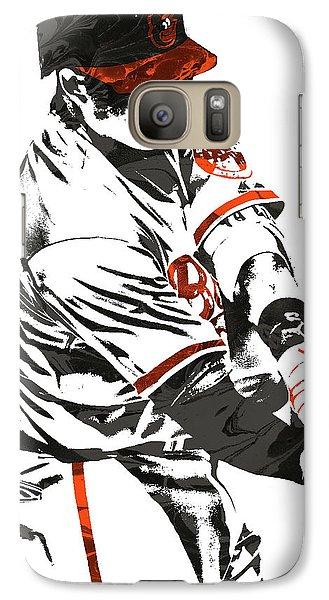 Oriole Galaxy S7 Case - Manny Machado Baltimore Orioles Pixel Art by Joe Hamilton