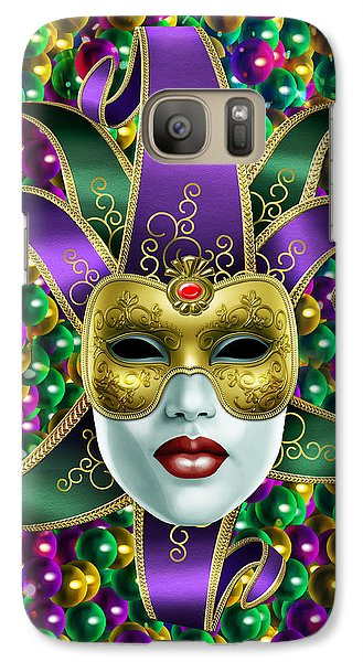 Galaxy Case featuring the photograph Mardi Gras Mask And Beads by Gary Crockett