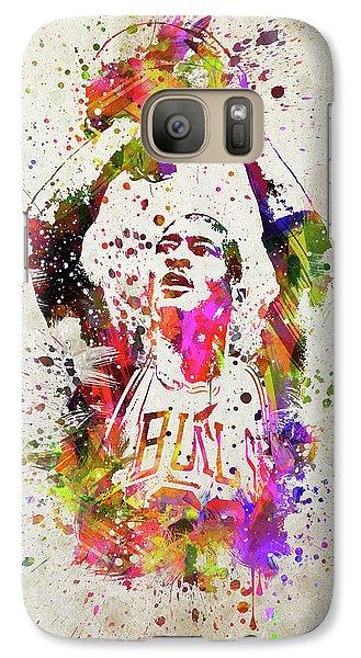 Michael Jordan In Color Galaxy S7 Case by Aged Pixel