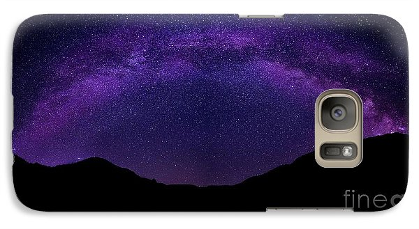 Galaxy Case featuring the photograph milky way above the Alps by Hannes Cmarits