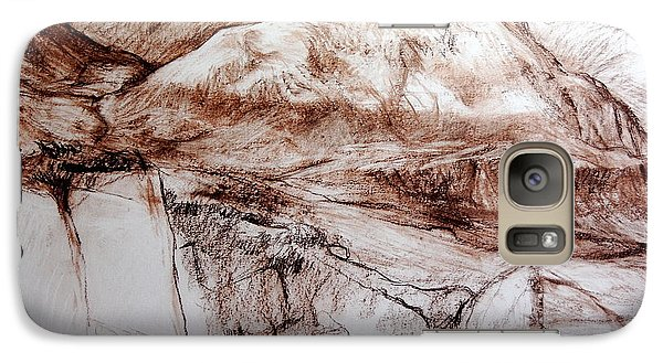 Galaxy Case featuring the drawing Mountains In Snowdonia by Harry Robertson