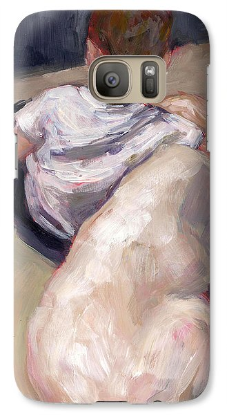 Galaxy Case featuring the painting My Beau by Molly Poole