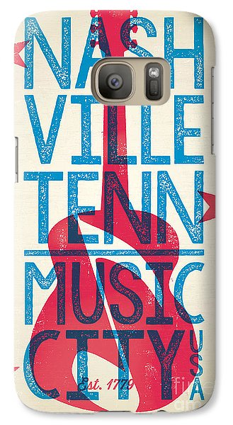 Johnny Cash Galaxy S7 Case - Nashville Tennessee Poster by Jim Zahniser
