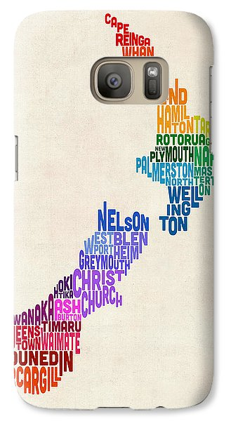 New Zealand Typography Text Map Galaxy S7 Case by Michael Tompsett