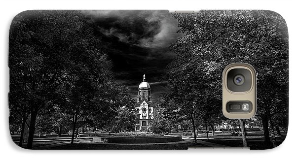 Galaxy Case featuring the photograph Notre Dame University Black White by David Haskett