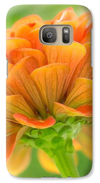 Galaxy Case featuring the photograph Orange Zinnia  by Jim Hughes