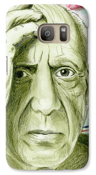 Galaxy Case featuring the drawing Pablo Piccaso by Yoshiko Mishina