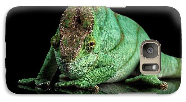 Parson Chameleon, Calumma Parsoni Orange Eye On Black Galaxy S7 Case by Sergey Taran