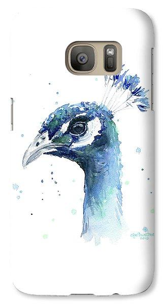 Peacock Watercolor Galaxy S7 Case by Olga Shvartsur