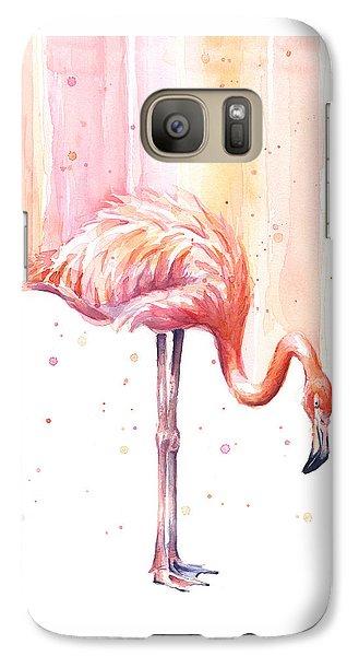 Flamingo Galaxy S7 Case - Pink Flamingo - Facing Right by Olga Shvartsur