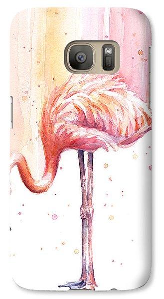 Pink Flamingo Watercolor Rain Galaxy S7 Case