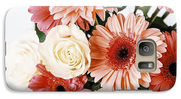 Pink Gerbera Daisy Flowers And White Roses Bouquet Galaxy S7 Case