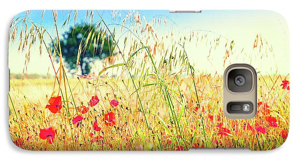 Galaxy S7 Case featuring the photograph Poppies With Tree In The Distance by Silvia Ganora