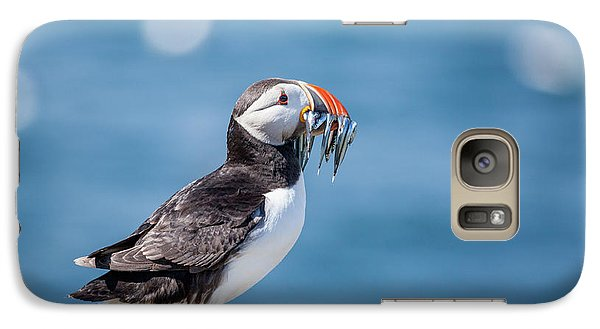 Puffin Galaxy S7 Case - Puffin With Fish For Tea by Anita Nicholson