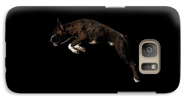 Dog Galaxy S7 Case - Purebred Boxer Dog Isolated On Black Background by Sergey Taran