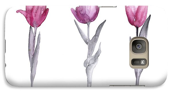 Garden Galaxy S7 Case - Purple Tulips Watercolor Painting by Joanna Szmerdt