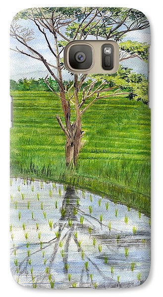 Galaxy Case featuring the painting Rain Tree On The Way To Ubud Bali Indonesia by Melly Terpening