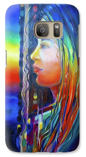 Galaxy Case featuring the painting Rainbow Girl 241008 by Selena Boron
