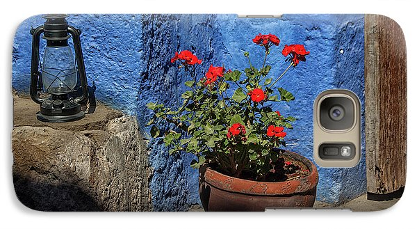Galaxy Case featuring the photograph Red Geranium Near A Blue Wall by Patricia Hofmeester