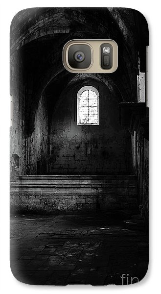 Galaxy Case featuring the photograph Rioseco Abandoned Abbey Nave Bw by RicardMN Photography