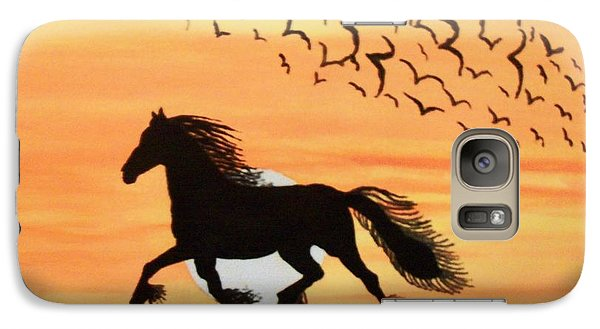 Galaxy Case featuring the painting Running In The Wind by Connie Valasco